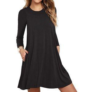 Dresses & Skirts - Long Sleeve Pocket Casual Loose T-Shirt Dress